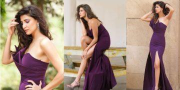 Aahana Kumra In Her Purple Slit Gown