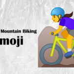 woman mountain biking emoji